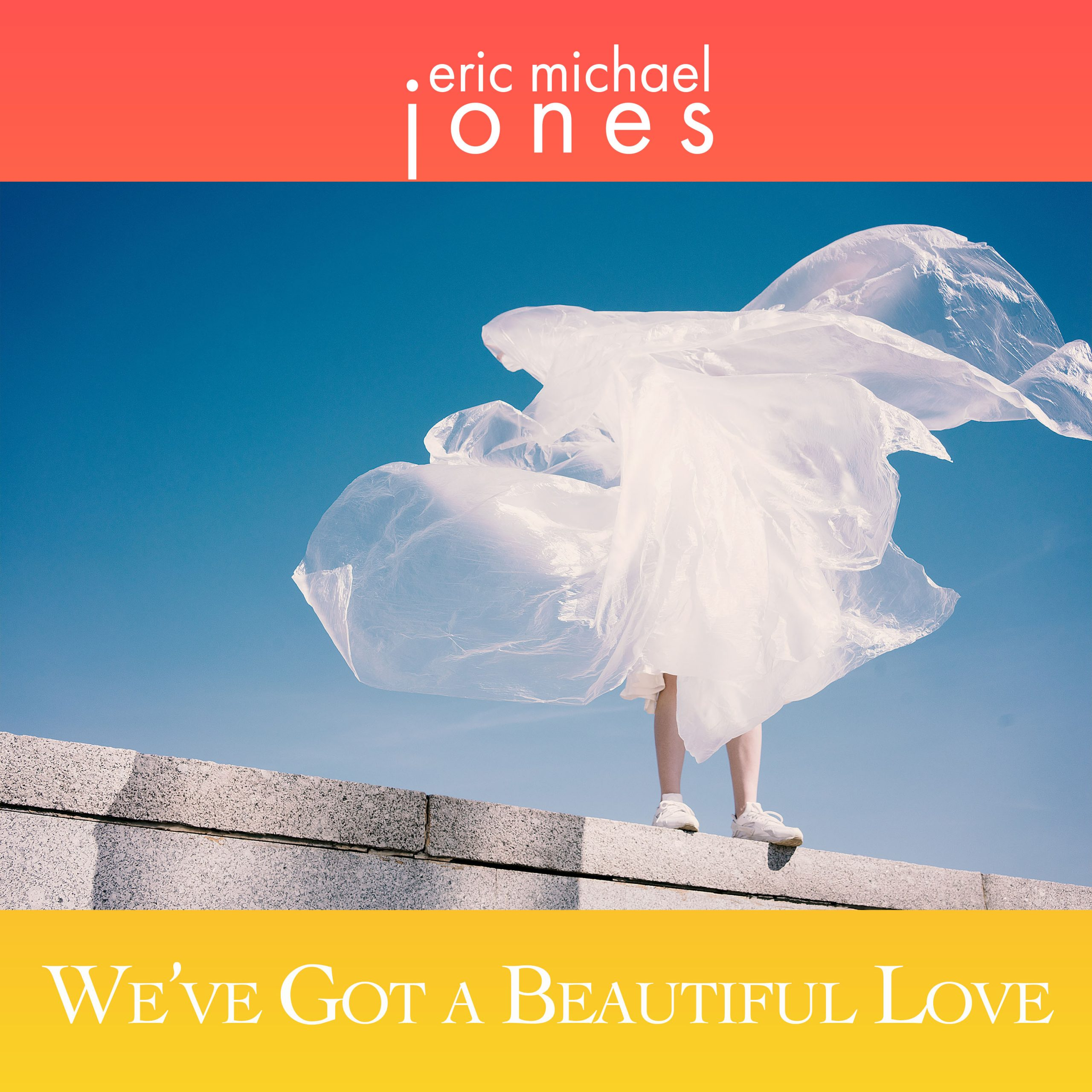 Cover art for We've Got A Beautiful Love, showing a figure standing on a wall and obscured by flowing plastic wrap