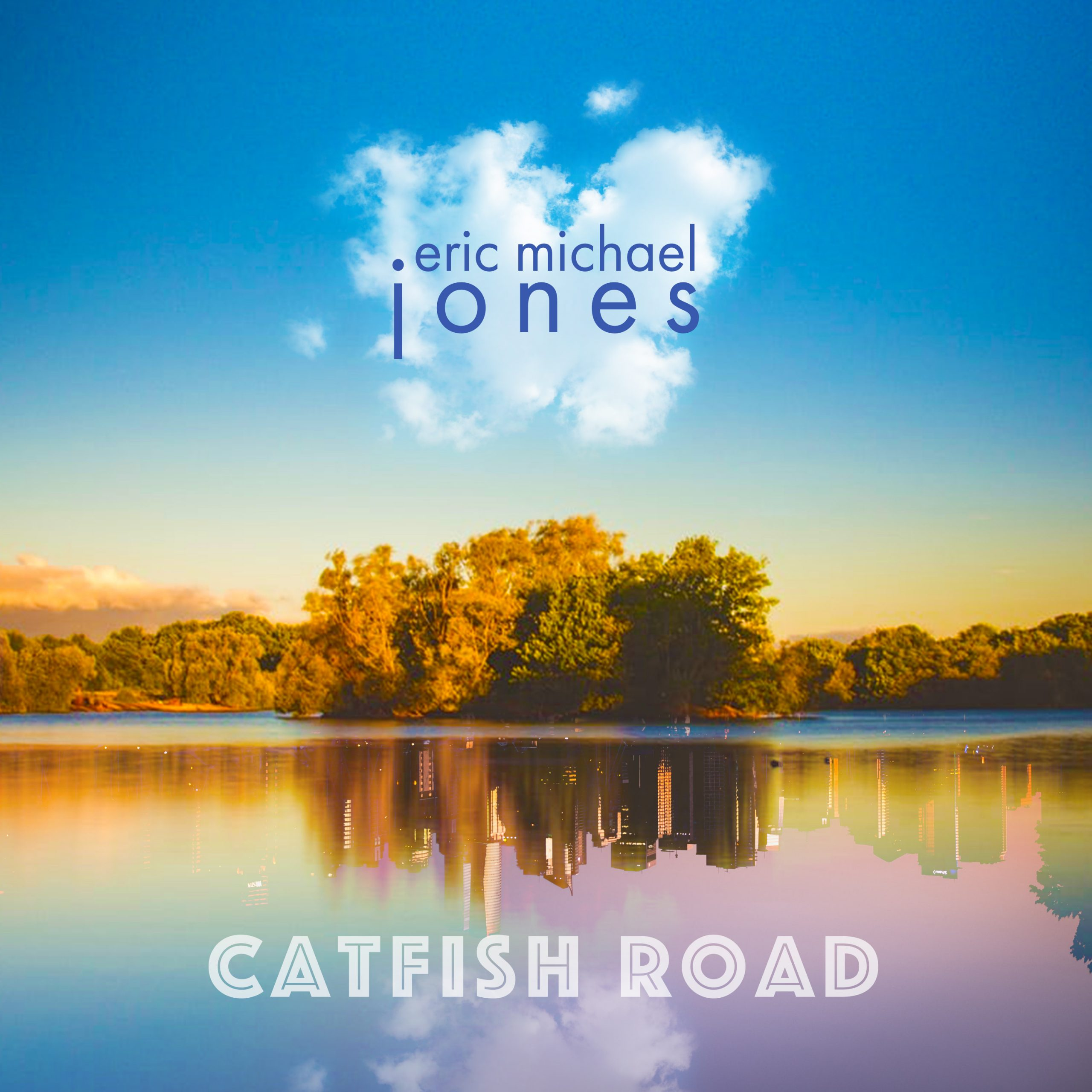 Cover art for Catfish Road, showing a lie where the trees are reflected as a city