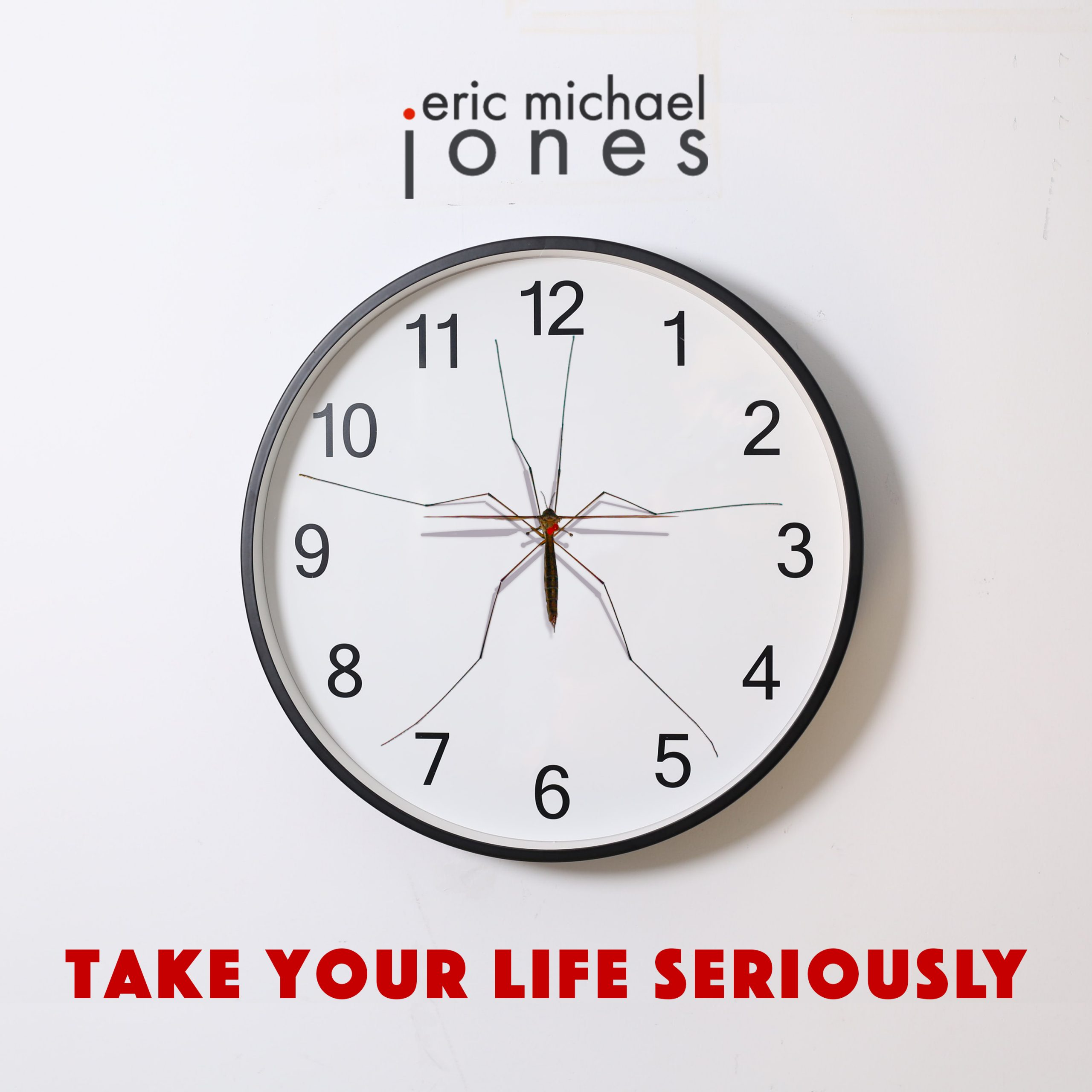 Cover art for Take Your Life Seriously, showing a clock with a giant mosquito instead of hands