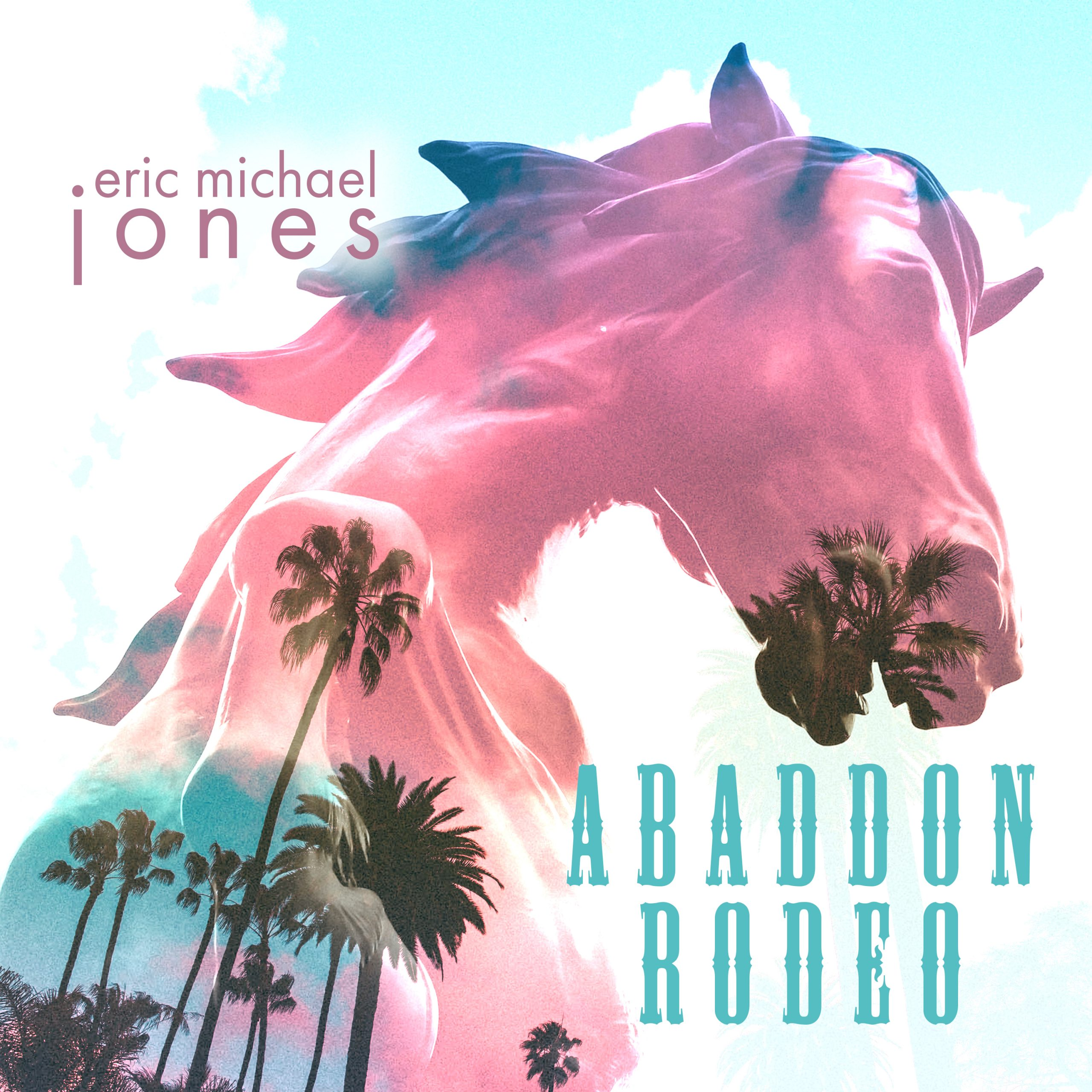 Cover art for Abbadon Rodeo, showing the figure of a horse superimposed with palm trees