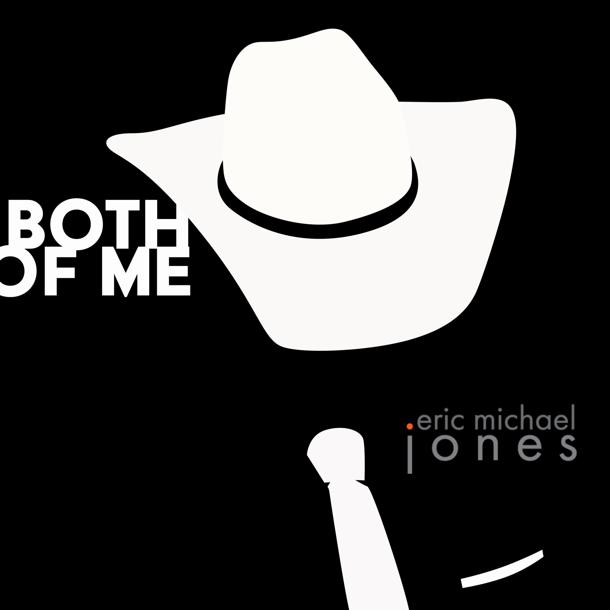Cover art for Both Of Me showing black and white graphic shape representing a cowboy with a necktie