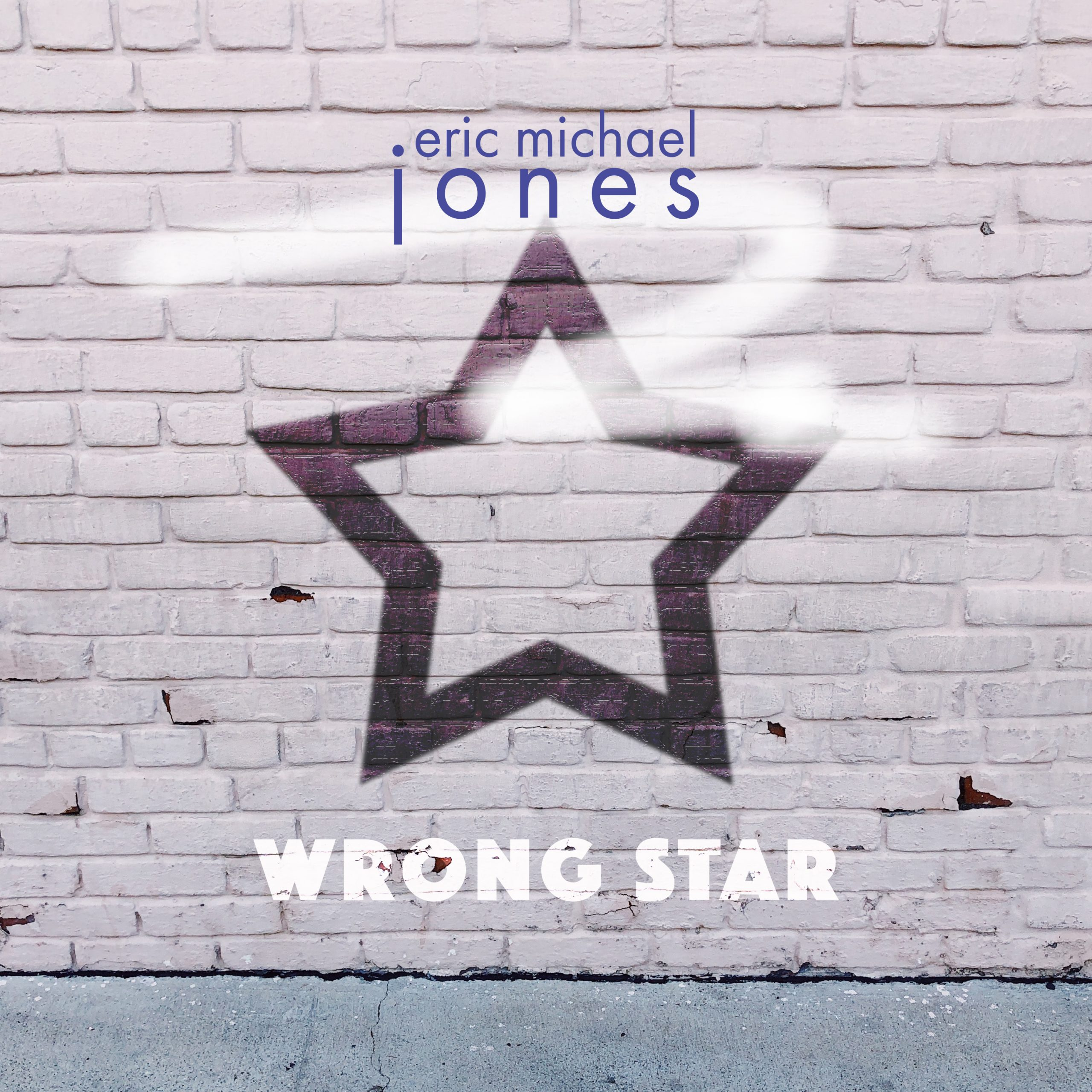 Cover art for Wrong Star, showing a graphic star painted on a brick wall as graffiti