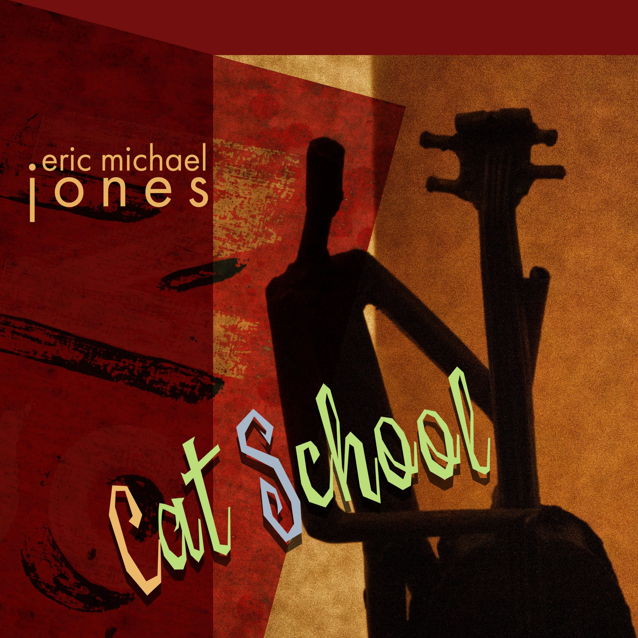 Cover rt for Cat School, showing a graphic of a bass musician
